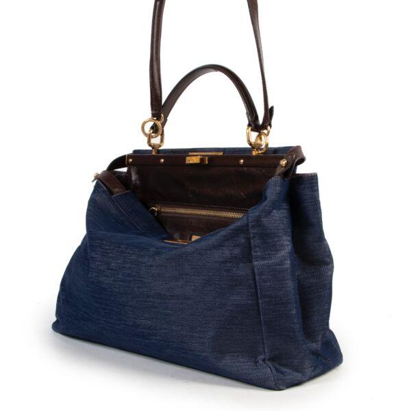 Fendi Blue Denim Peekaboo Top Handle Bag