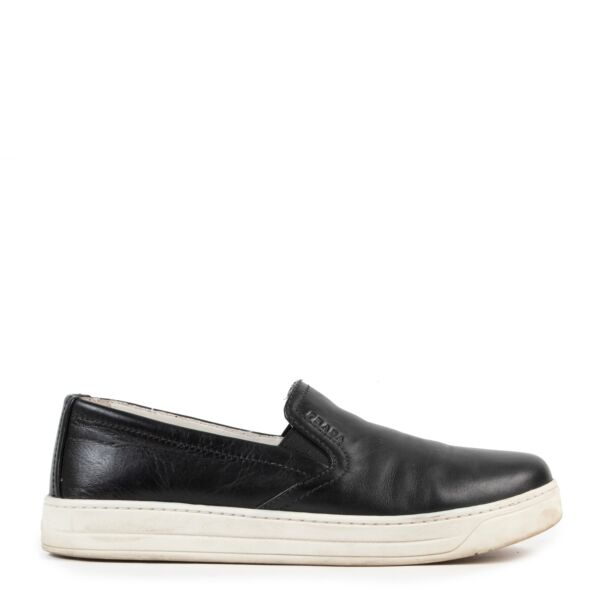 Buy Prada Sport Black Leather Slip On Sneakers online in a safe way for the right price.
