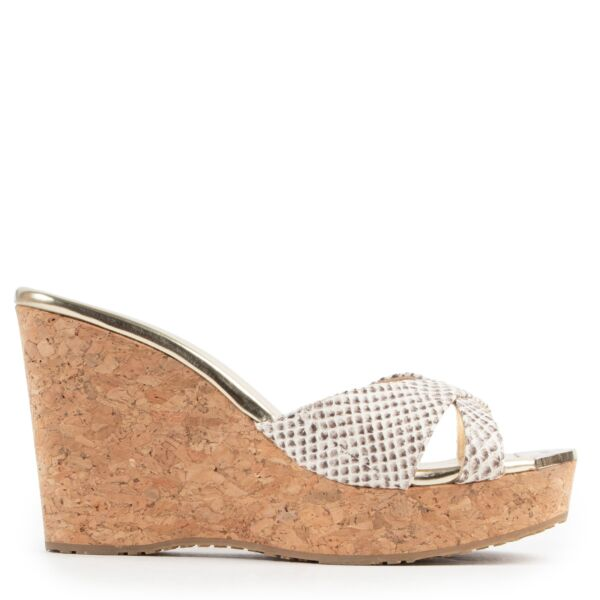 Jimmy Choo Cork Python Wedge Heel - size 39