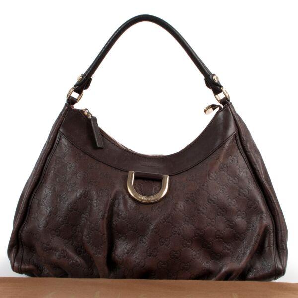 Gucci Brown Monogram Leather Hobo Bag