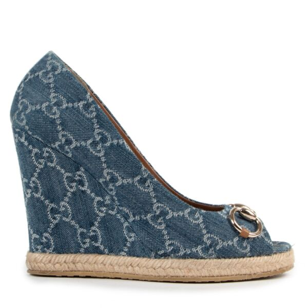 Gucci Blue Denim Horsebit Wedge Heels - size 38.5