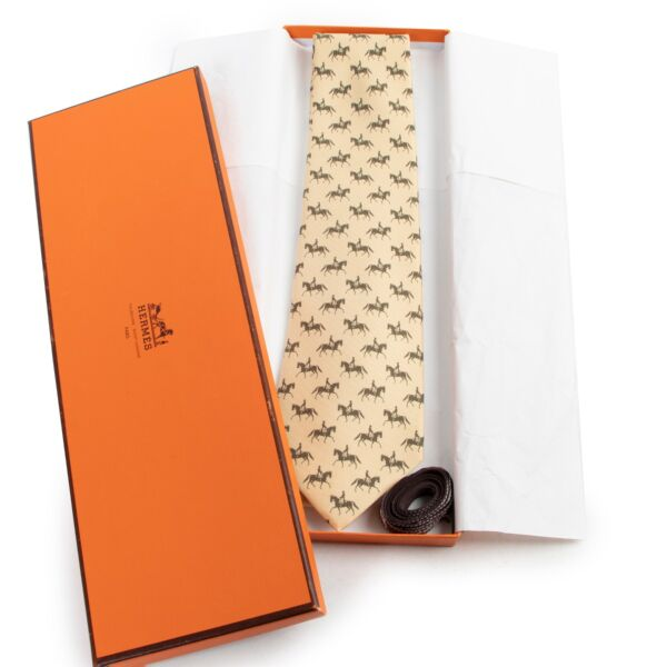 Hermes Yellow Horse Print Tie