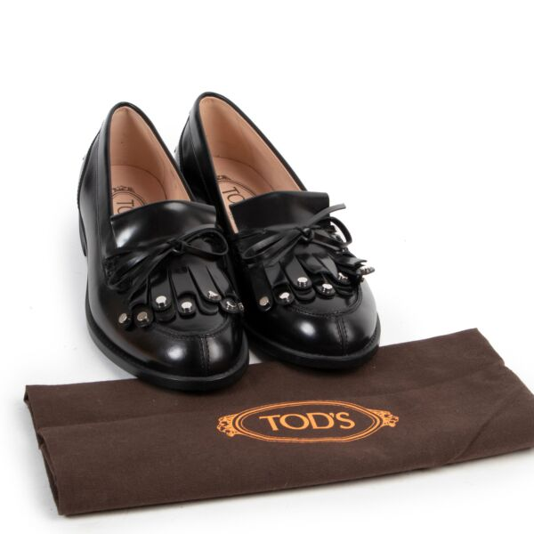 Tod's Black Leather Loafers - size 36.5