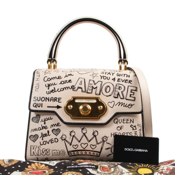 Dolce & Gabbana Cream Graffiti Print Welcome Shoulder Bag