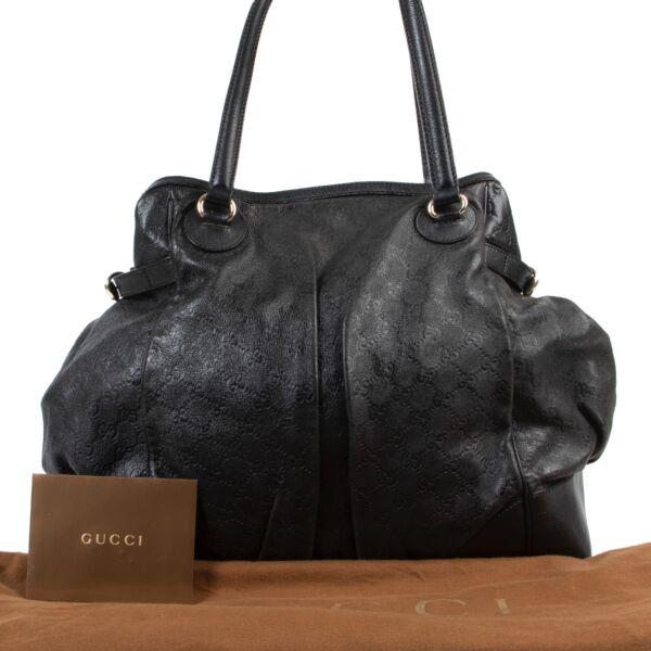 Gucci Black Monogram Leather Shoulder Bag