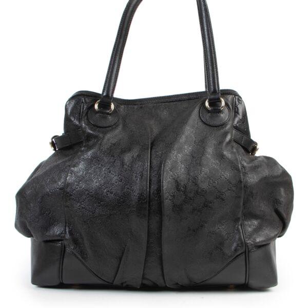 Shop safe online authentic second hand Gucci Black Monogram Leather Shoulder Bag.