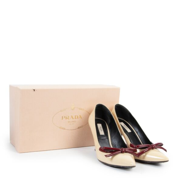 Prada Cream Patent Leather Pumps - Size 37