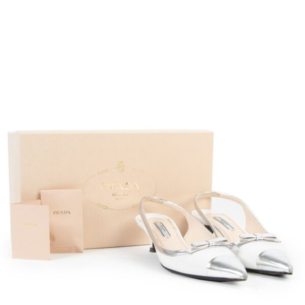 Prada White and Silver Heels - Size 38