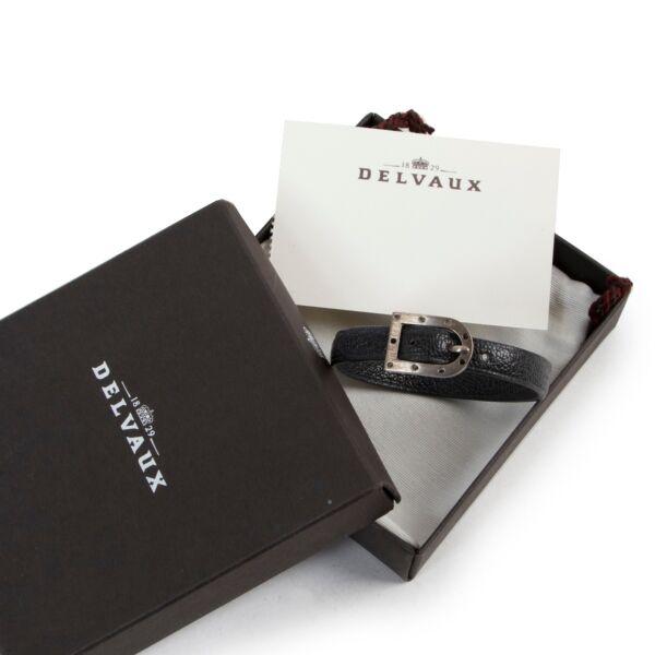 Delvaux Grey Leather D Bracelet