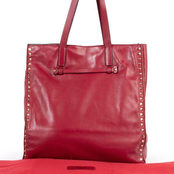 Valentino Burgundy Studded Shoulder Bag
