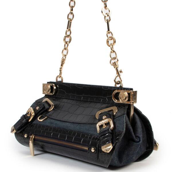 Versace Croc Denim Shoulder Bag