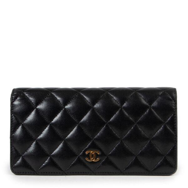 Chanel Black Long Flap Lambskin Wallet