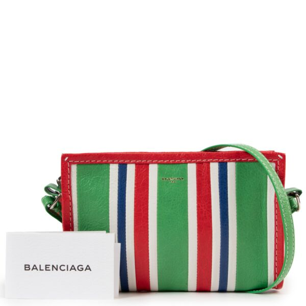 Balenciaga Red/Green Striped Bazar Crossbody Bag