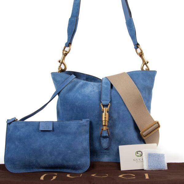 Gucci Blue Soft Suede 2 Strap Crossbody