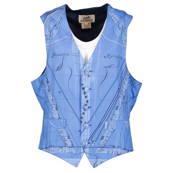 Hermès Blue Silk Gilet Top - size 48