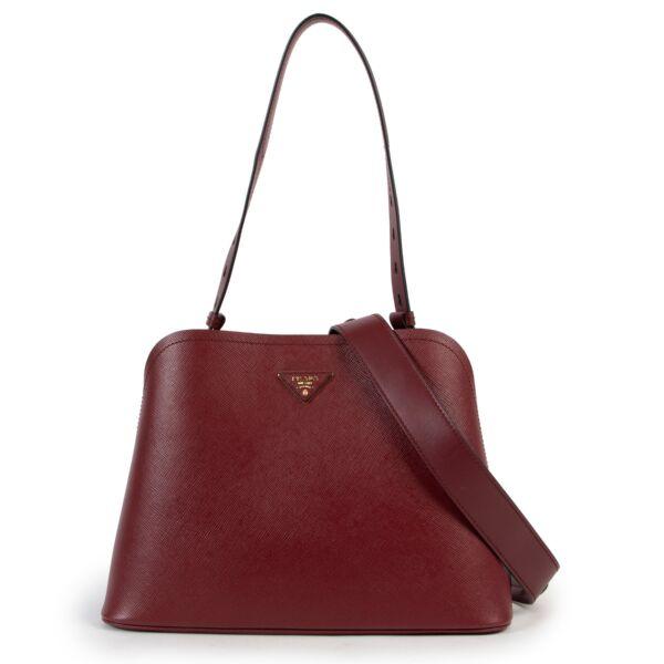 Prada Burgundy Saffiano Lux Promenade Shoulder Bag