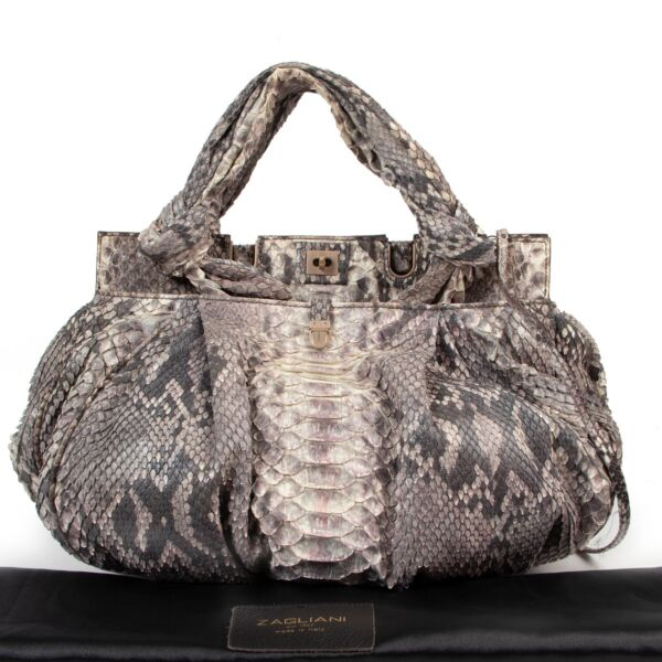Zagliani Grey Pink Ombré Python Bag