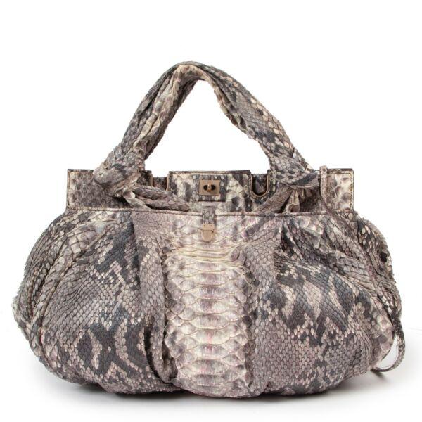 Zagliani Ombré Grey And Pink Python Bag