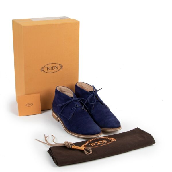 Tods Blue Suede Boots - size 38.5