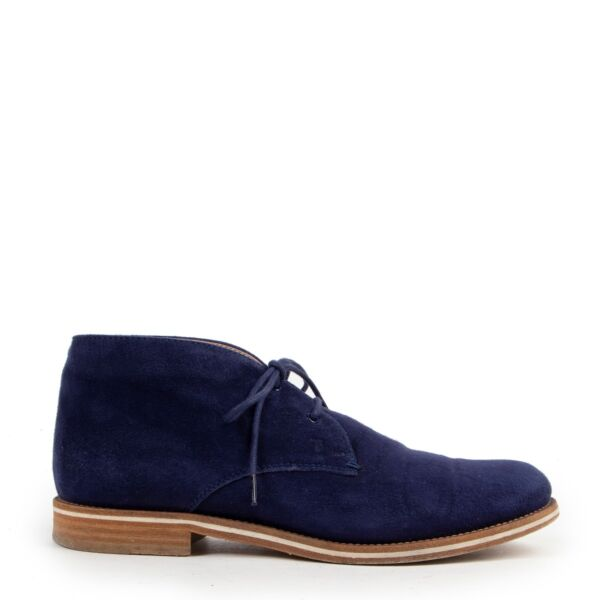 Buy in very good condition a Tods Blue Suede Boots-Size 38 1/2