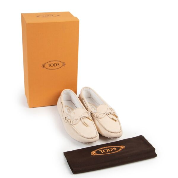 Tods Beige Shimmer Sneakers - Size 38
