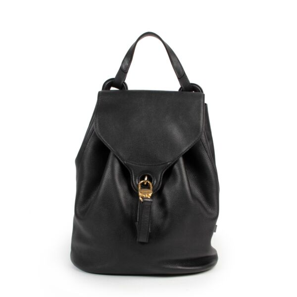 Buy in very good condition a Delvaux Black Leather Backpack.