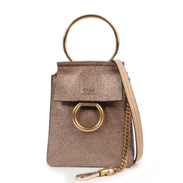 Chloé Metallic Taupe Faye Small Bracelet Bag
