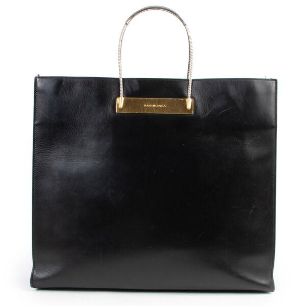 Buy in very good condition a Balenciaga Black Soft Calfskin Cable Shopper Tote