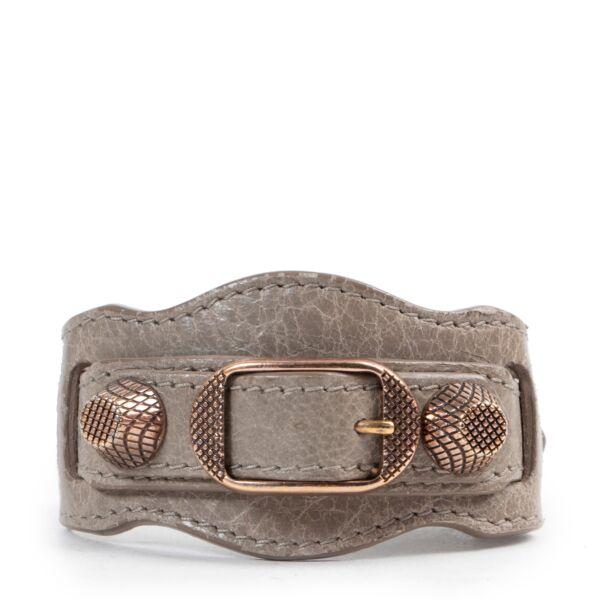 Balenciaga Taupe Leather Bracelet