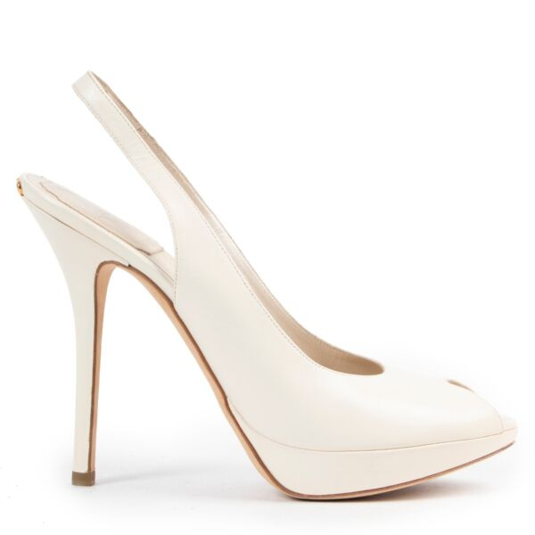 secondhand Dior White Leather Sandal Pumps - size 37,5