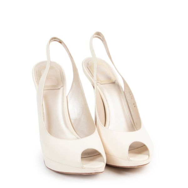 Dior White Leather Sandal Pumps - size 37,5