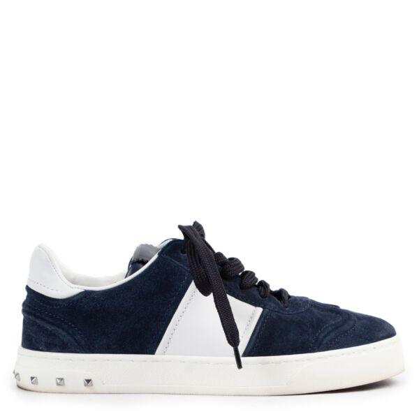 Shop safe online at Labellov.com blue suede Valentino sneaker in size 37.