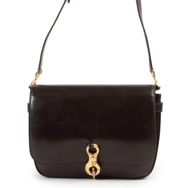 Shop safe online 100% authentic second hand Delvaux Dark Brown Vintage Shoulder Bag at Labellov in Antwerp.