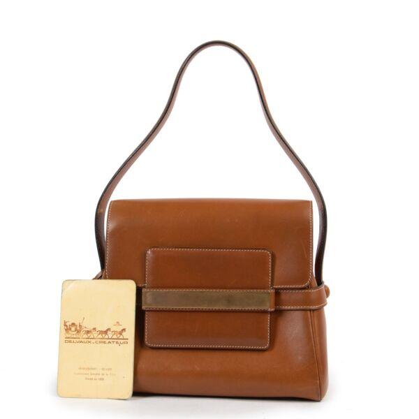 Delvaux Cognac Leather Shoulder Bag