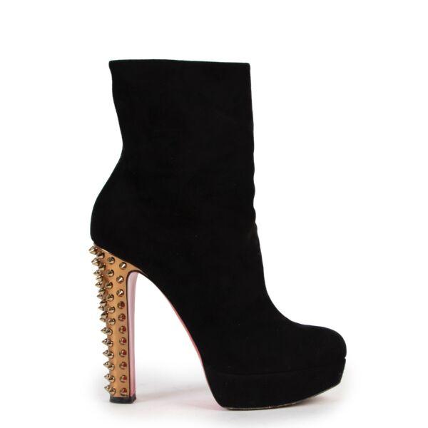 Shop safe online 100% authentic second hand Christian Louboutin Black Suede Boots - Size 40
