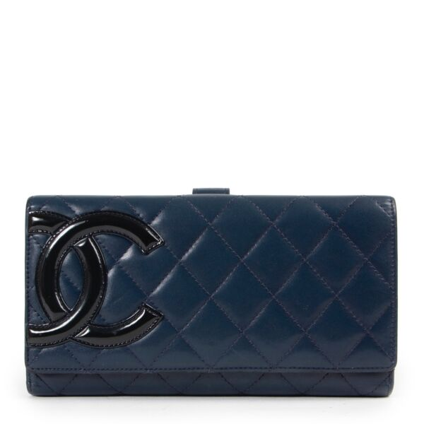 Shop safe online authentic second hand Chanel Blue CC Cambon Long Wallet at the right price.