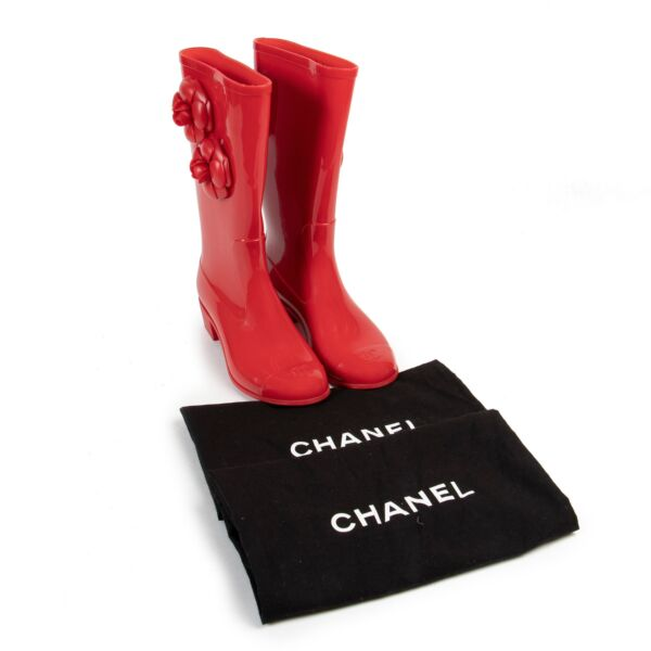 Chanel Red Rubber Rain Boots - Size 36