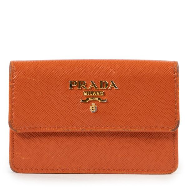 Shop safe online authentic second hand Prada Orange Saffiano Leather Card Holder at the right price at Labellov.com.