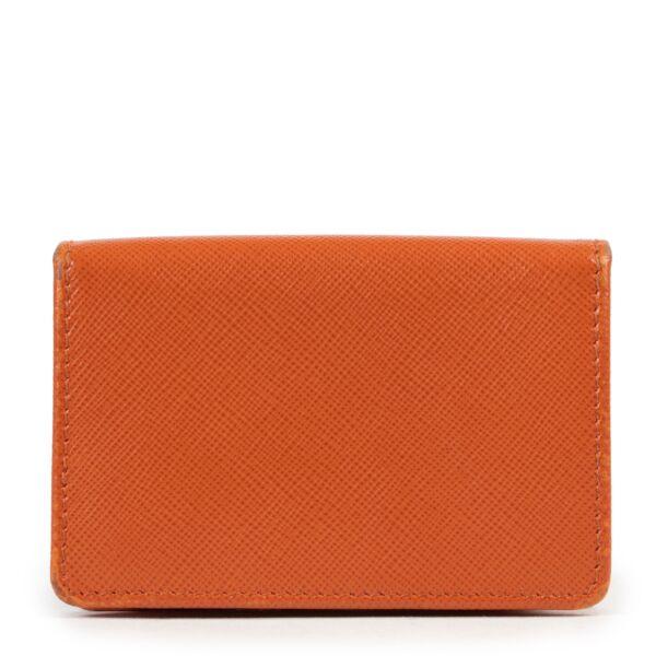 Prada Orange Saffiano Leather Card Holder