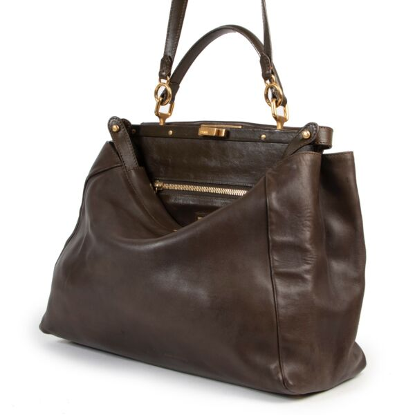 Fendi Khaki Peekaboo Large Shoulder bag