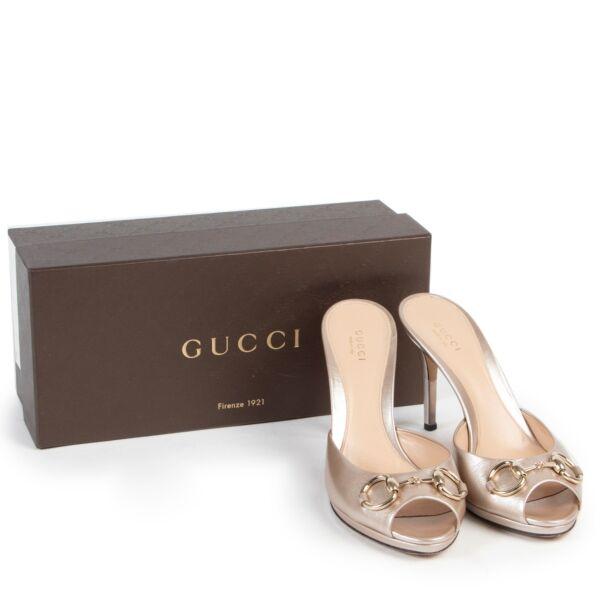 Gucci Nude Peep-toe Mules - Size 38 1/2