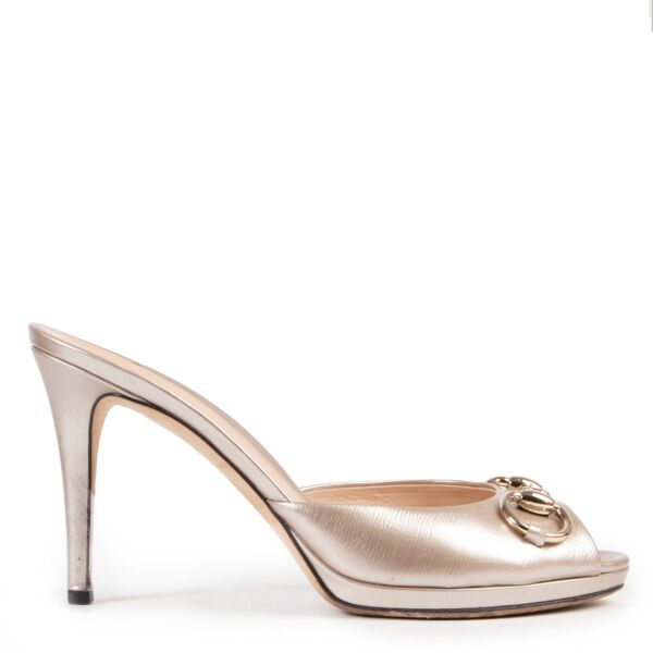 Gucci Nude Peep-toe Mules Size 38 available at Labellov