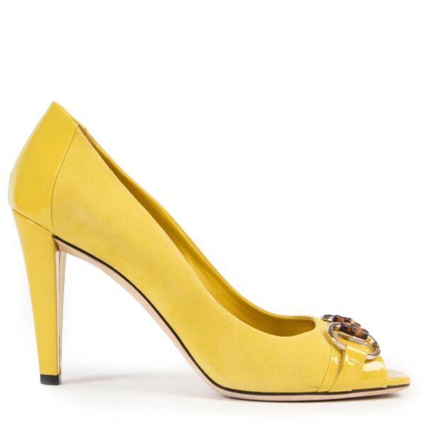 Gucci Yellow Suède Pumps available at Labellov online and in store