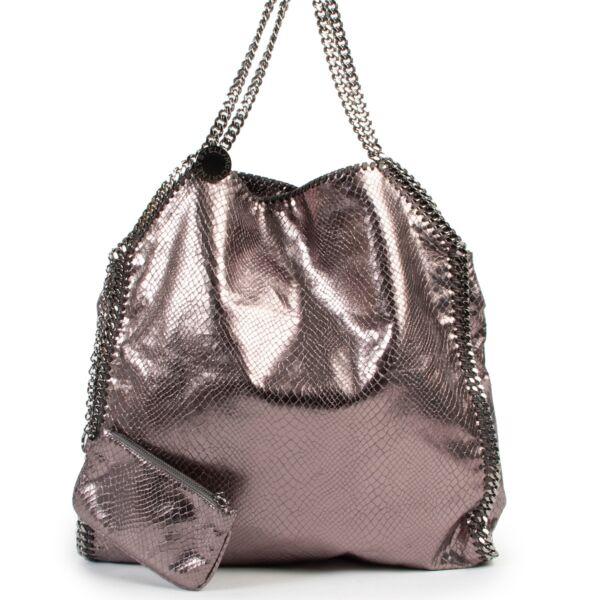 Stella McCartney Grey Metallic Faux-Python Falabella Bag