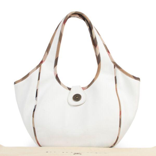Burberry White Leather And Nova Check Trim Hobo Bag