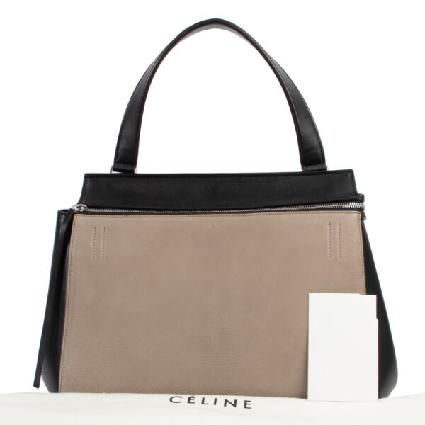Celine Edge Taupe and Black Shoulder Bag