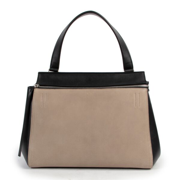Celine Edge Taupe and Black Shoulder Bag now at Labellov 100% authentic