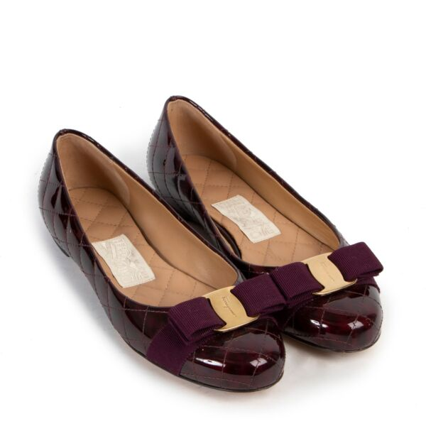 Salvatore Ferragamo Quilted Vernis Purple Flats - size 37