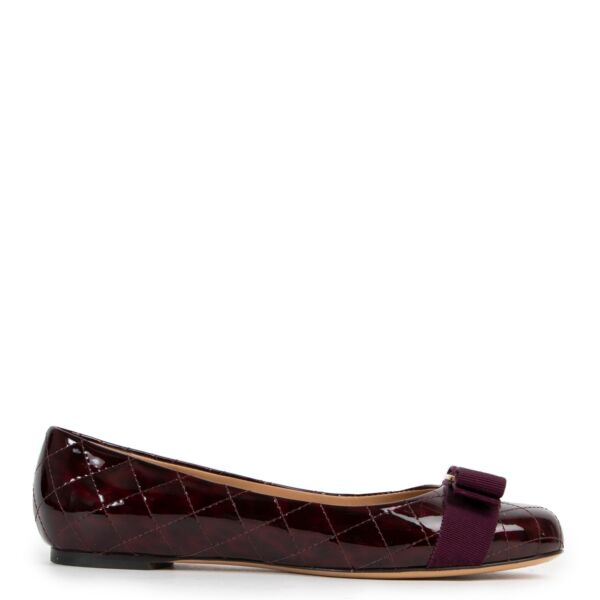 Salvatore Ferragamo Quilted Vernis Purple Flats - size 37 for the best price at Labellov secondhand luxury in Antwerp