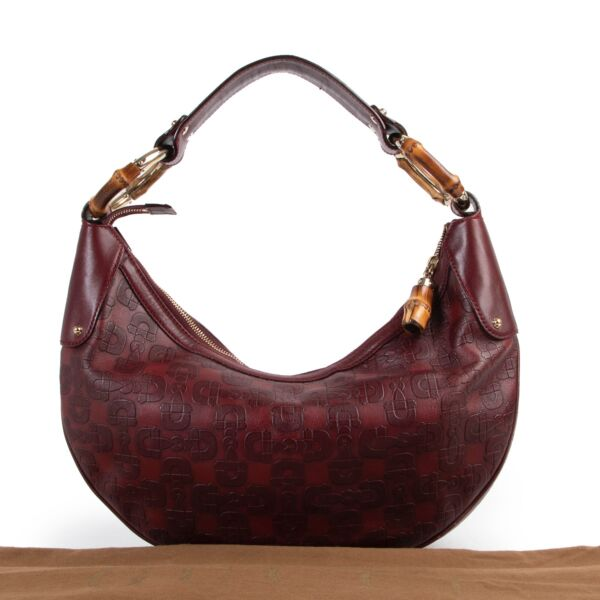 Gucci Burgundy Horsebit Bamboo Ring Moon Hobo Bag